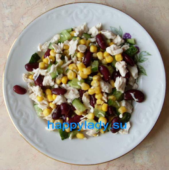 салат с курицей сытный