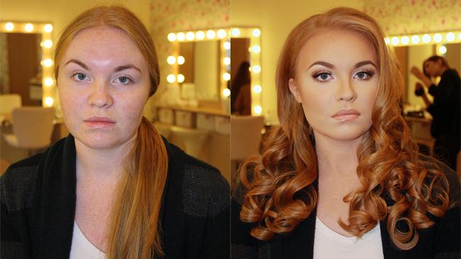 брюнетка макияж до и после