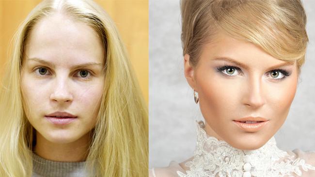 блондинка макияж до и после