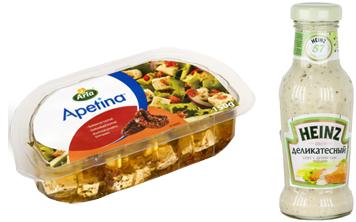 соус Heinz  и сыр Apetina
