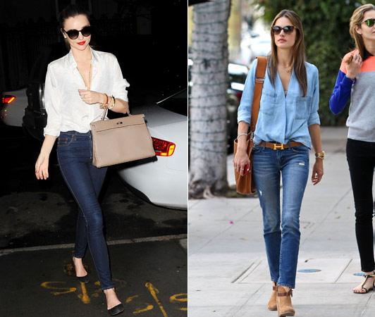 сочетание джинсов и аксессуаров