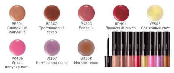 цветовая палитра блеска для губ shiseido