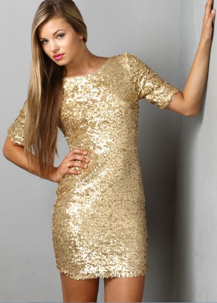 золотое платье мини
